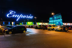 Exterior of Emporia, modern shopping center, at nght in Malmo, Sweden. MALMO, SWEDEN - JANUARY 2, 2015: Exterior of Emporia, modern shopping center, at nght in Royalty Free Stock Images