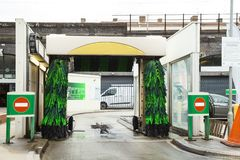 Car wash machine whit no car. The exterior of empty Automatic car wash machine station stock image
