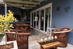 Exterior of the patio area of a contemporary suburban home Stock Photo