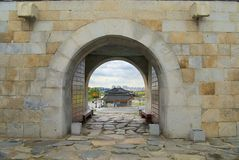 Exterior of the entrance gate of the Hwaseong fortress (Brilliant Fortress) in Suwon, South Korea. Royalty Free Stock Photos