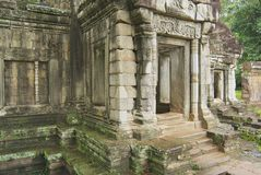 Exterior of the entrance gate to the Phimeanakas Hindu temple in Angkor, Cambodia. Royalty Free Stock Photo