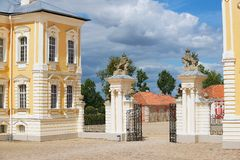 Exterior of the entrance gate to Rundale palace in Pilsrundale, Latvia. Stock Image