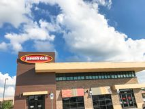 Exterior entrance of Jason Deli restaurant chain in Lewisville,. LEWISVILLE, TX, US-SEPT 13, 2018:Facade entrance of Jason Deli, family owned fast casual royalty free stock photography