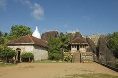 Exterior of the entrance to the Isurumuniya rock temple in Anuradhapura, Sri Lanka. Stock Photo