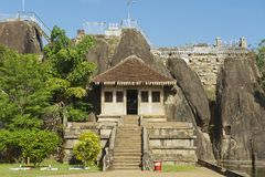 Exterior of the entrance to the Isurumuniya rock temple in Anuradhapura, Sri Lanka. Royalty Free Stock Photography