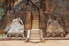 Exterior of the entrance to the Sigiriya Lion rock fortress in Sigiriya, Sri Lanka. Stock Images