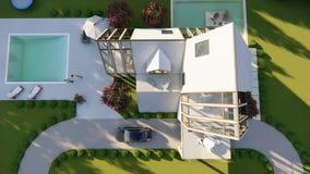 Exterior escandinavo moderno de la piscina del housewith almacen de metraje de vídeo