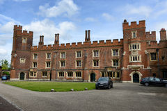 Exterior of Eton College, Berkshire, England. Exterior Facade of Historic Eton College, a Boarding School for Boys, with Blue Sky and Clouds, Berkshire, England Royalty Free Stock Images