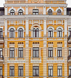 Exterior of european yellow building Stock Photo