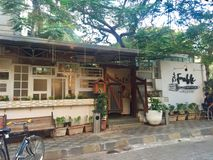 Exterior of Fable restaurant. Exterior of The Fable restaurant in the suburbs of Juhu, Mumbai, India royalty free stock image
