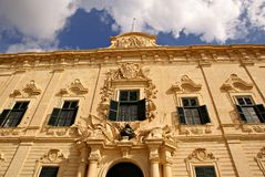 Exterior facade of  the building of Palace  of the Prime Minister in Valletta Stock Image
