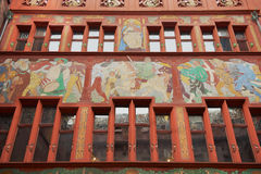 Exterior of the facade of the city hall building in Basel, Switzerland. Royalty Free Stock Photos