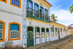 Exterior facade of colonial house Royalty Free Stock Image