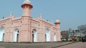 Exterior of the facade of the Mausoleum of Bibipari in Lalbagh fort in Dhaka, Bangladesh. stock footage