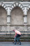 Santa Maria Novella Church; Florence; Italy with Two Women Walki Royalty Free Stock Images