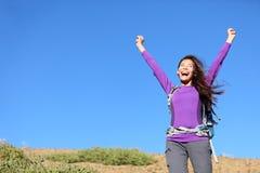 Exterior feliz de la mujer del éxito Foto de archivo libre de regalías