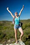 Exterior feliz de la mujer del éxito Fotografía de archivo libre de regalías