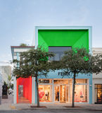 Exterior of Fendi Shop in Midtown Miami. MIAMI, FL - DECEMBER 31 2014 - Miami's central art district in the Wynwood and Edgewater neighborhoods features an urban Stock Photos
