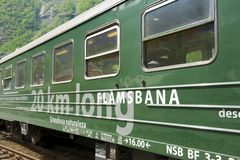 Exterior of the Flamsbana train in Flam, Norway. Royalty Free Stock Photo