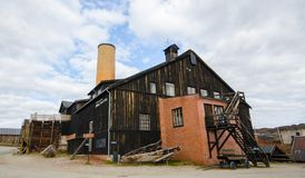 Exterior of the former copper smelter factory in Roros, Norway. ROROS, NORWAY - JULY 24, 2013: Exterior of the former copper smelter factory on July 24, 2014 in Stock Image