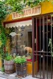 Exterior francês velho do restaurante fotografia de stock royalty free