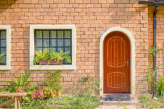 Exterior and Front Door of a Beautiful Old House Royalty Free Stock Photography