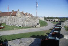 Exterior of Ft. Ticonderoga, site of French and Indian wars, Lake Champlain, NY Royalty Free Stock Photo
