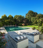 Exterior, garden with pool Stock Photography