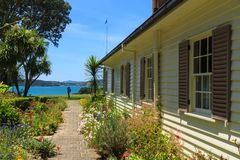 Exterior and garden of the Treaty House, Waitangi, New Zealand stock image