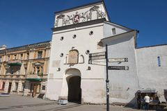Exterior of the Gate of Dawn in Vilnius, Lithuania. VILNIUS, LITHUANIA - MAY 12, 2015: Exterior of the Gate of Dawn in Vilnius, Lithuania Stock Photography