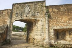 Exterior of the gate to the Ozama fortress in Santo Domingo, Dominican Republic. Stock Images