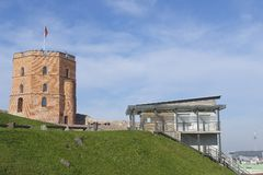 Exterior of the Gediminas tower and the funicular upper station at the Gediminas hill in Vilnius, Lithuania. Stock Photo