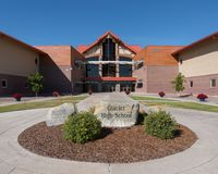 Glacier High School. Exterior of the Glacier High Schoolon Wolfpack Way in Kalispell, Montana royalty free stock image