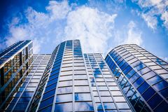 Exterior of glass office building. Modern skyscrapers Stock Photos