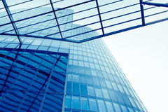 Exterior of glass residential building.  Modern glass silhouette Royalty Free Stock Photo