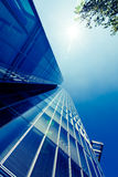 Exterior of glass residential building.  Modern glass silhouette Stock Photo