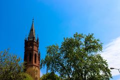 Exterior of the Gothic Catholic Church stock photos