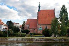 The exterior of a Gothic church, Poland. Catholic church built in the fifteenth century in the Gothic style in Bydgoszcz, Bydgoszcz Diocese Cathedral, the Royalty Free Stock Image