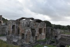 Exterior of Grands Therme Bath House of Hadrian`s Villa, Tivoli. Exterior of Grands Therme Bath House in Hadrian`s Villa, Tivoli, November 26th, 2017 royalty free stock image