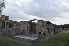 Exterior of Grands Therme Bath House of Hadrian`s Villa, Tivoli. Exterior of Grands Therme Bath House in Hadrian`s Villa, Tivoli, November 26th, 2017 royalty free stock images
