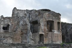 Exterior of Grands Therme Bath House of Hadrian`s Villa, Tivoli. Exterior of Grands Therme Bath House in Hadrian`s Villa, Tivoli, November 26th, 2017 royalty free stock photo