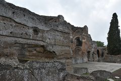 Interior of Grands Therme Bath House of Hadrian`s Villa, Tivoli. Exterior of Grands Therme Bath House in Hadrian`s Villa, Tivoli, November 26th, 2017 royalty free stock photos