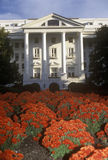 Exterior of Greenbrier Country Club and Resort with flowers in foreground, White Sulphur Spring, WV Royalty Free Stock Photography