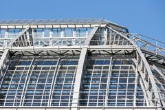Exterior of a greenhouse in a botanical garden Royalty Free Stock Image