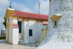 Exterior of the Guia Lighthouse and Church in Macau, China. Royalty Free Stock Images