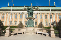 Exterior of Gustaf Vasa statue in front of the House of Nobility in Stockholm, Sweden. Royalty Free Stock Photo