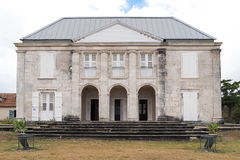 Exterior of Habitation Murat in Marie Galante, Guadeloupe. Facade of Habitation Murat in Marie Galante, ancient slaves house and sugar factory royalty free stock image