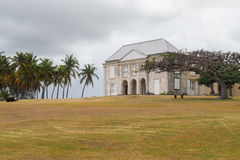 Exterior of Habitation Murat in Marie Galante, Guadeloupe. Facade of Habitation Murat and garden in Marie Galante, ancient slaves house and sugar factory stock photography