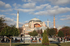 Exterior of the Hagia Sophia - also called Aya Sophia, in Istanbul, Turkey. With christian fresco and islamic symbols together Royalty Free Stock Images