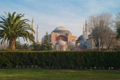 Exterior of the Hagia Sophia in Istanbul, Turkey royalty free stock photography
